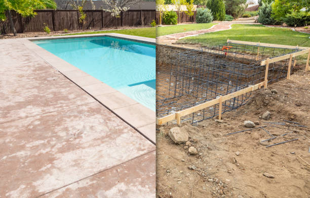 Before and After Pool Build Construction Site stock photo