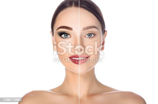 Before and after remove makeup. Woman face with makeup and without on white background