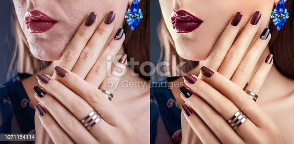 Before and after retouching in editor. Side by side fashion portraits of woman with makeup and manicure edited