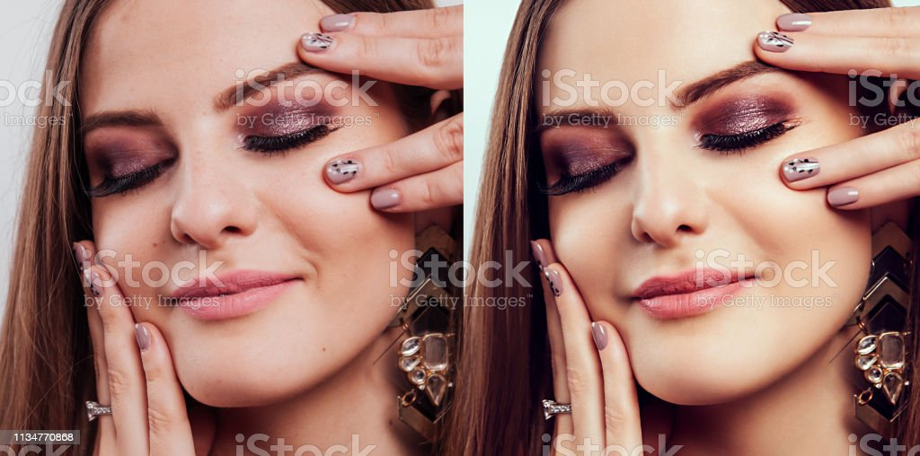 Before and after retouching in editor. Side by side beauty portraits of woman with makeup and manicure edited stock photo