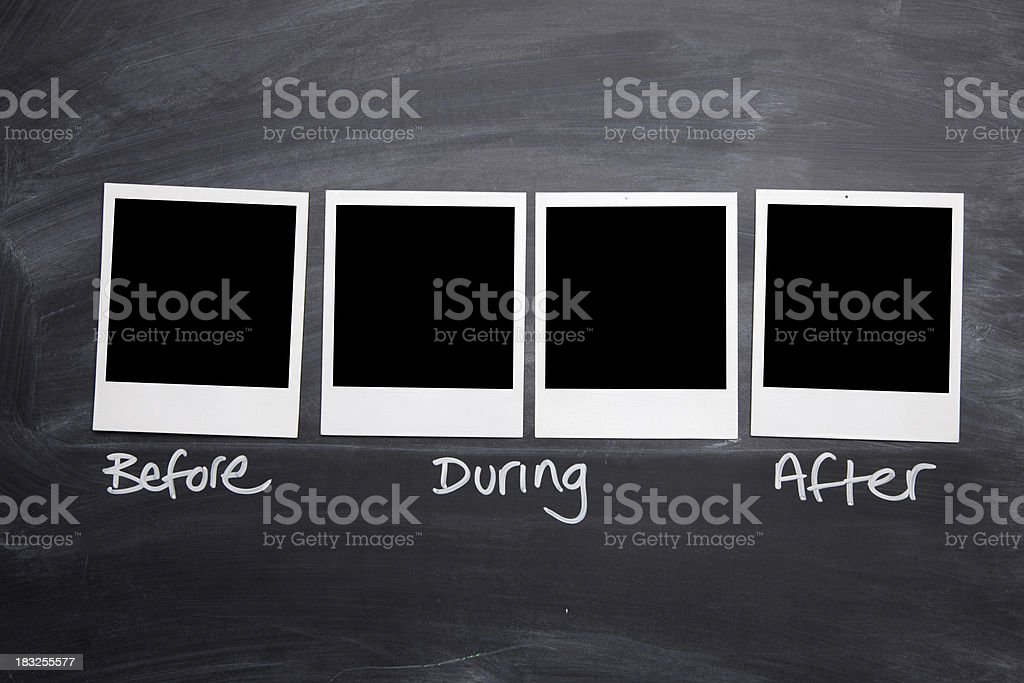 Before, during and after photographs royalty-free stock photo