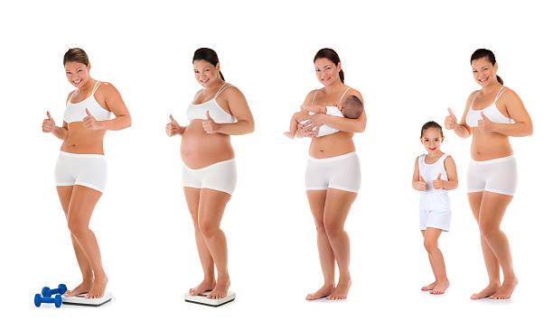 vor, während und nach der schwangerschaft sequence - schwangerschaft timeline stock-fotos und bilder