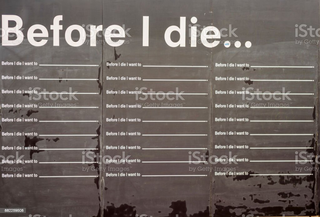 before i die black board stock photo