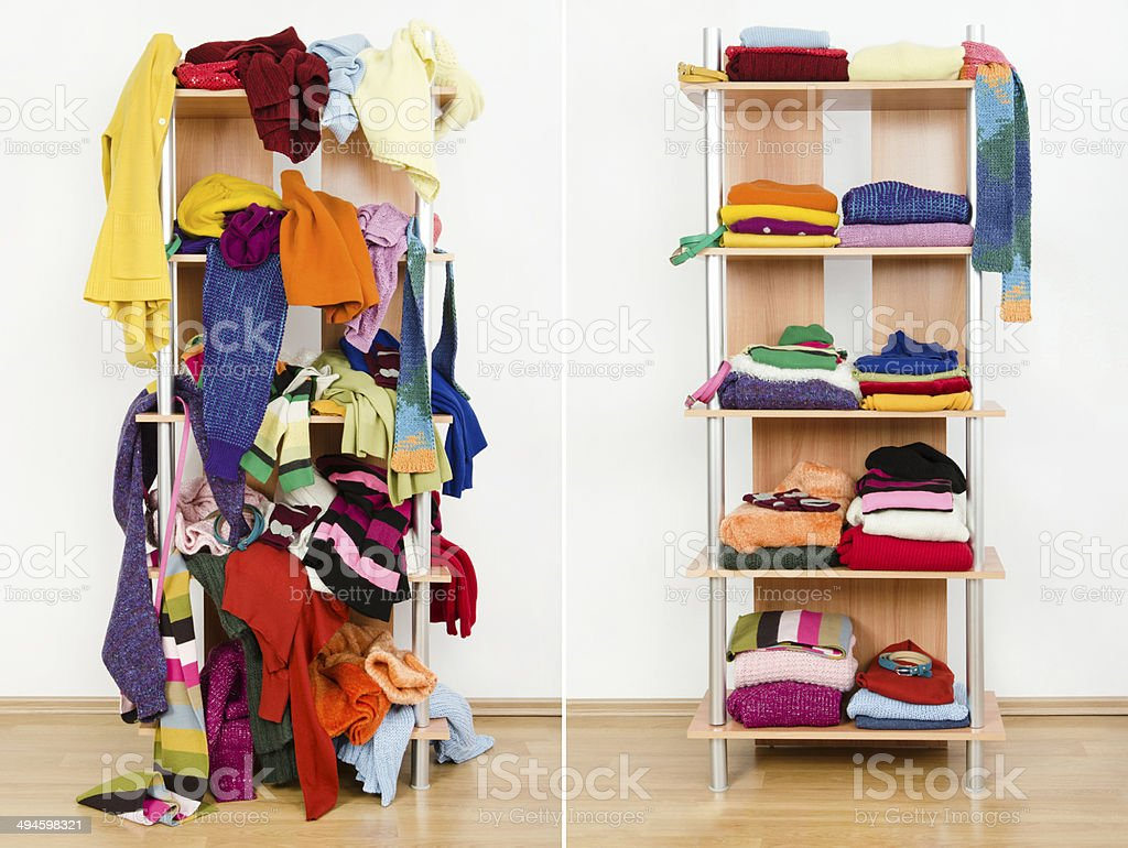 Before untidy after tidy wardrobe with winter clothes and accessories. Messy colorful clothes thrown on a shelf and nicely arranged clothes in piles. Arranging Stock Photo