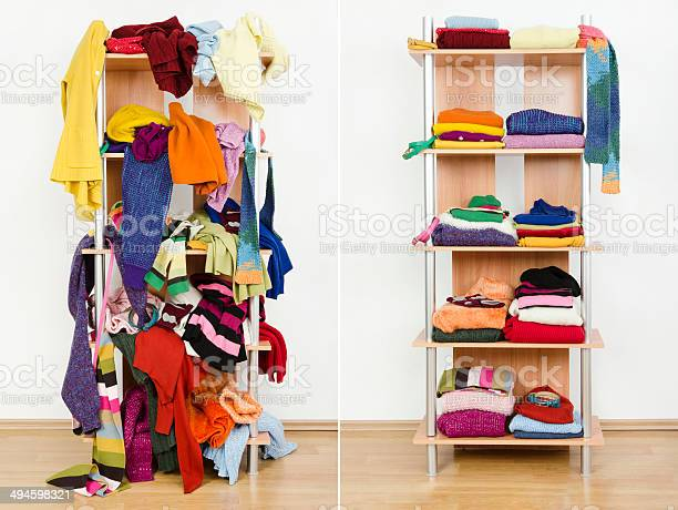 Before Untidy After Tidy Wardrobe With Winter Clothes And Accessories Stock Photo - Download Image Now