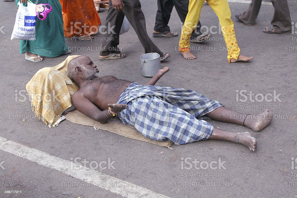Beggar on the road royalty-free stock photo