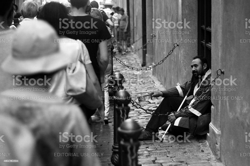 Begger in Rome stock photo