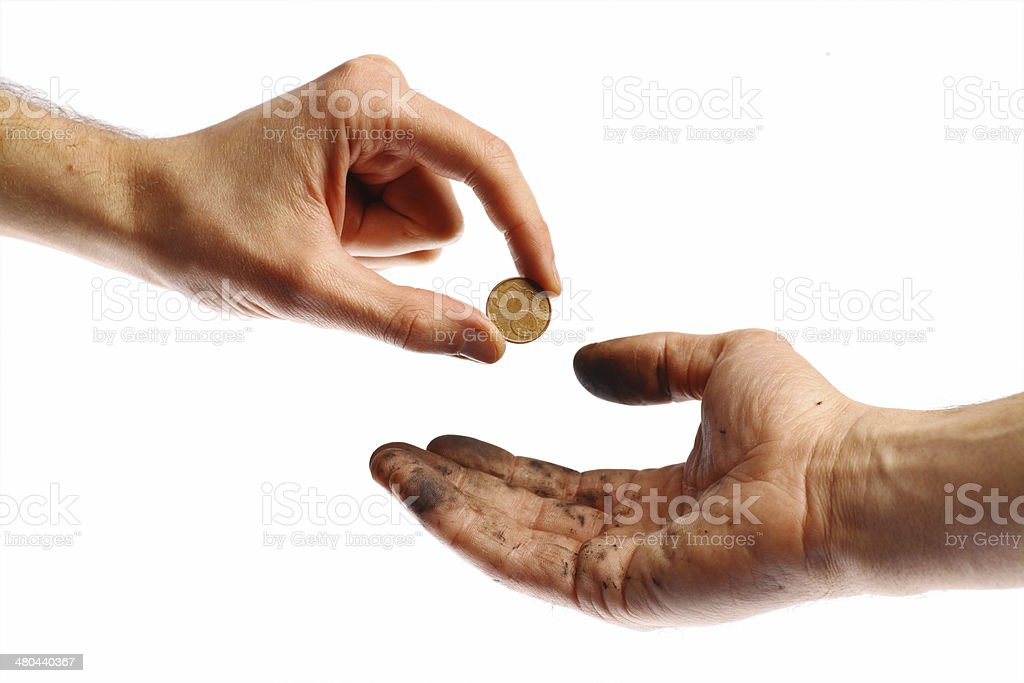Begging for a coin stock photo