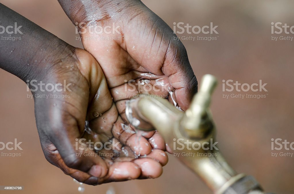 Begging for Water - Water Projects in Africa stock photo