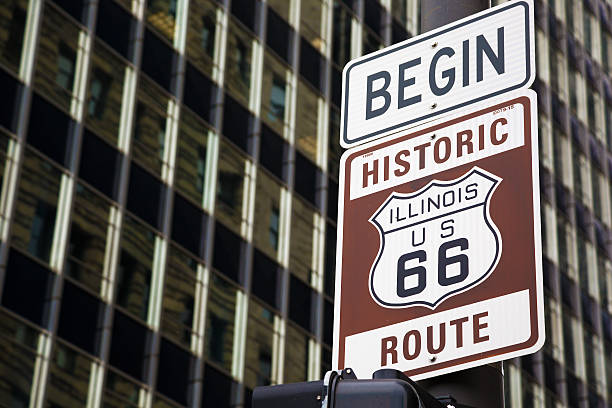 begin of route 66 in chicago - route 66 stock-fotos und bilder
