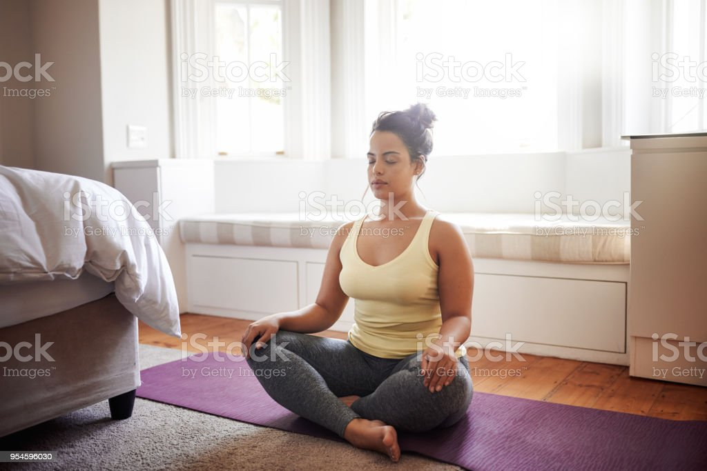 Beginning my day with meditation stock photo