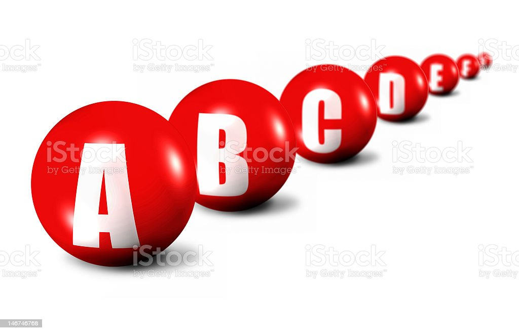 beginning of alphabet stock photo