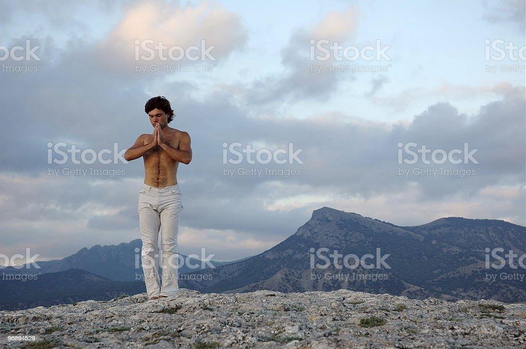 Beginning of yoga practice royalty-free stock photo