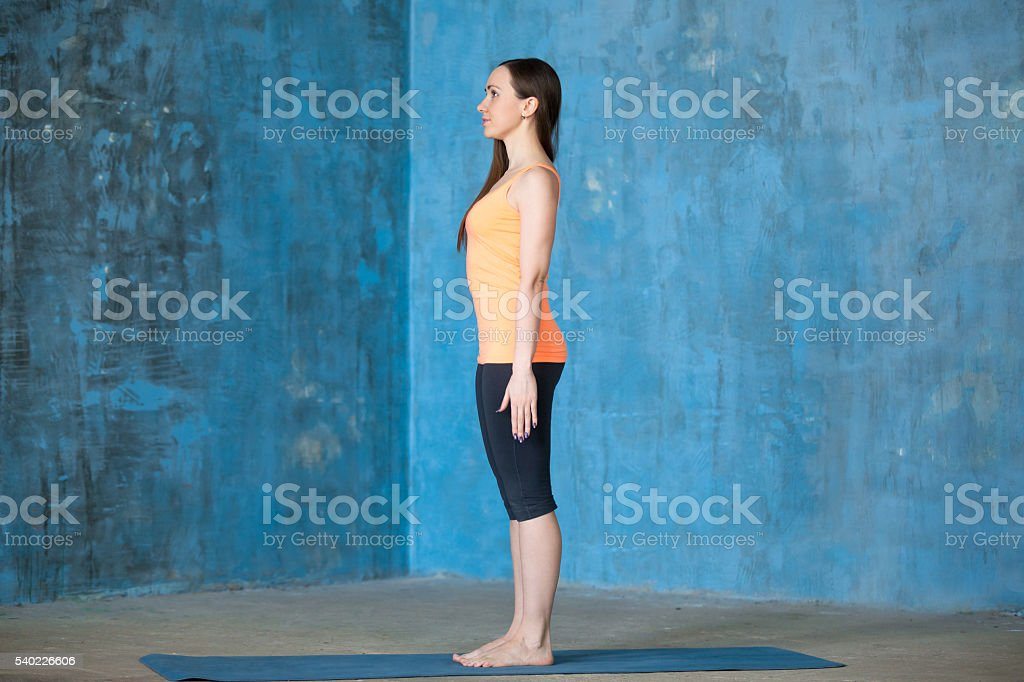 Beginning of yoga workout stock photo