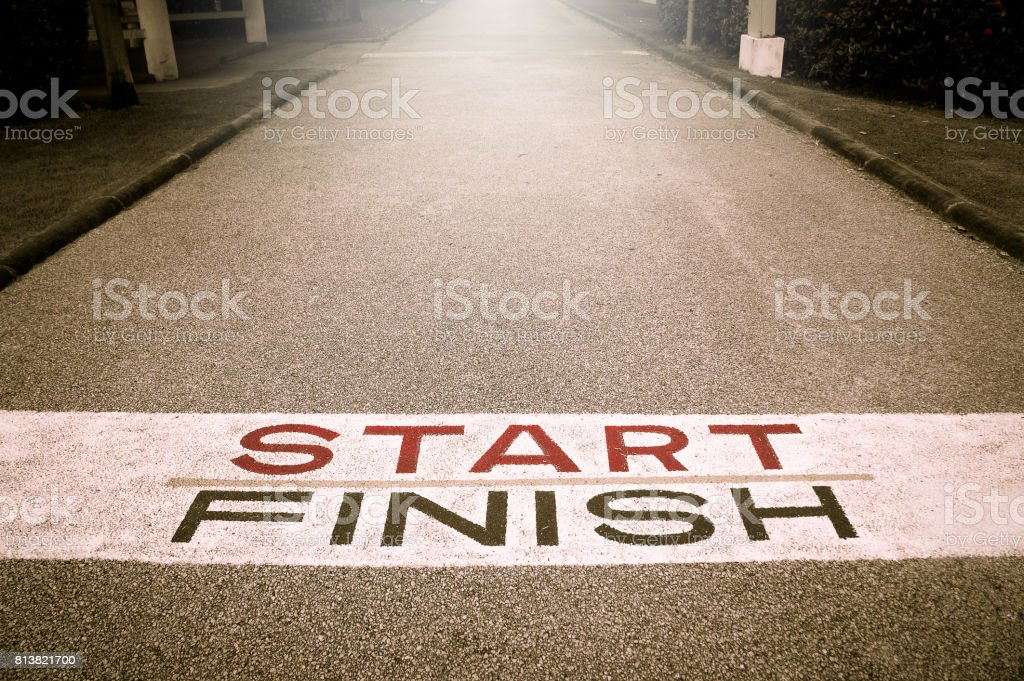 Beginning road of Victory Path , Start of the Victory Line , The Path of Victory An attempt to break through the obstacles to the expected victory. stock photo