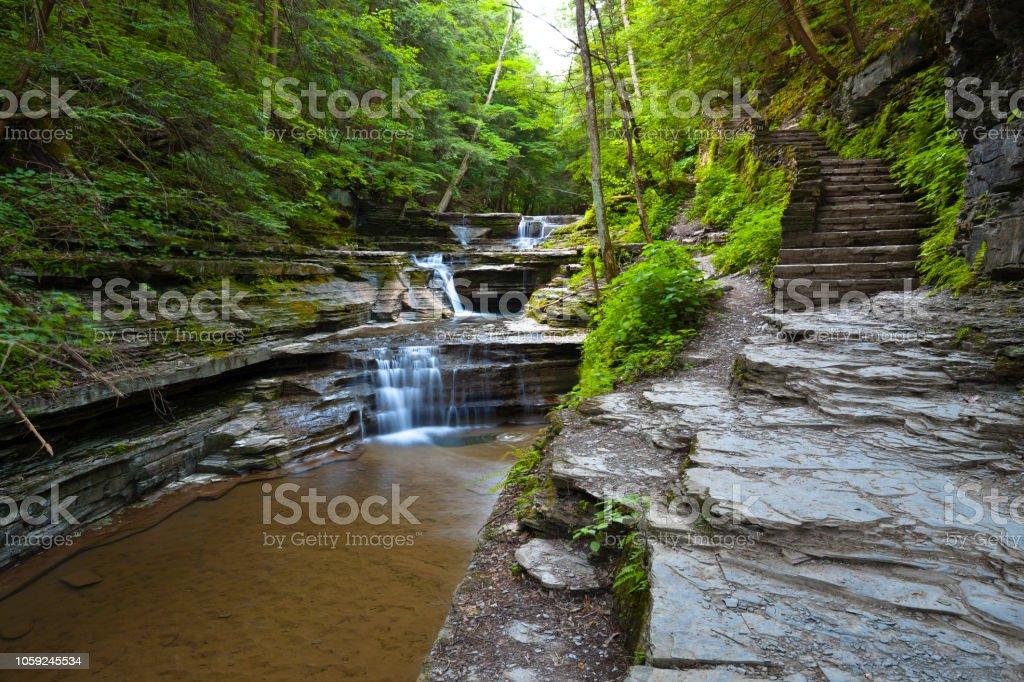 Beguiling Footpath with Cascades stock photo