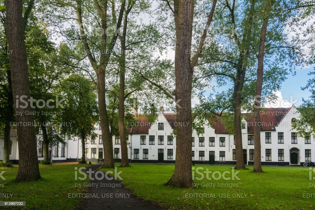 Beguinage Ten Wijngaerde in Bruges stock photo