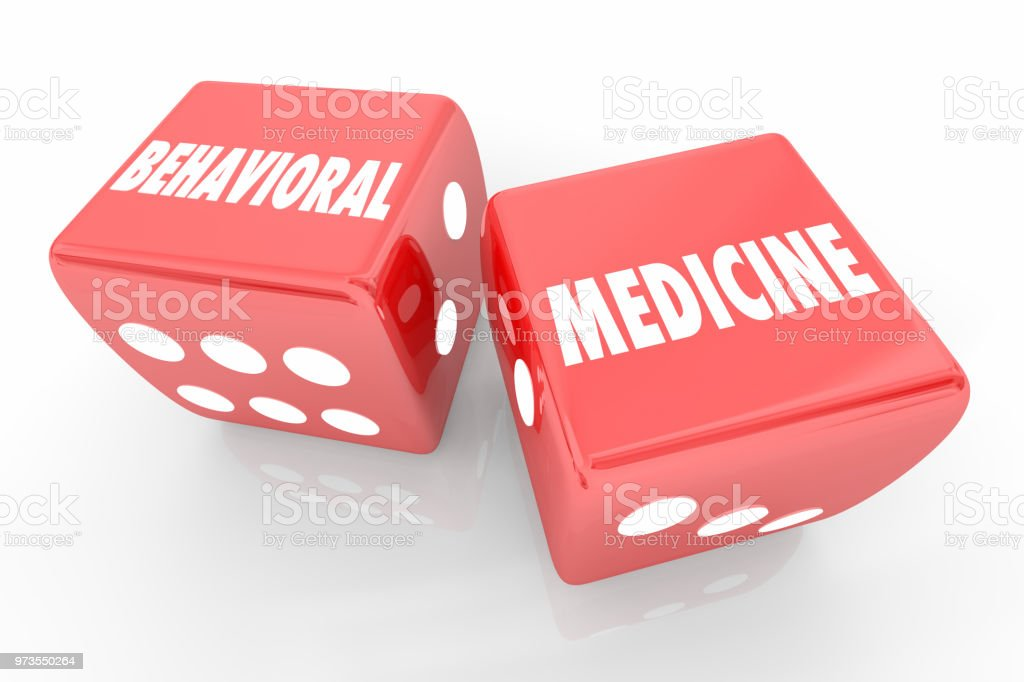 Behavioral Medicine Take Chances Roll Dice Words 3d Render Illustration stock photo