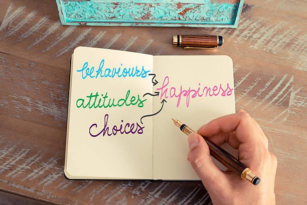 behaviours, attitudes and choices lead to happiness - geführtes lesen stock-fotos und bilder