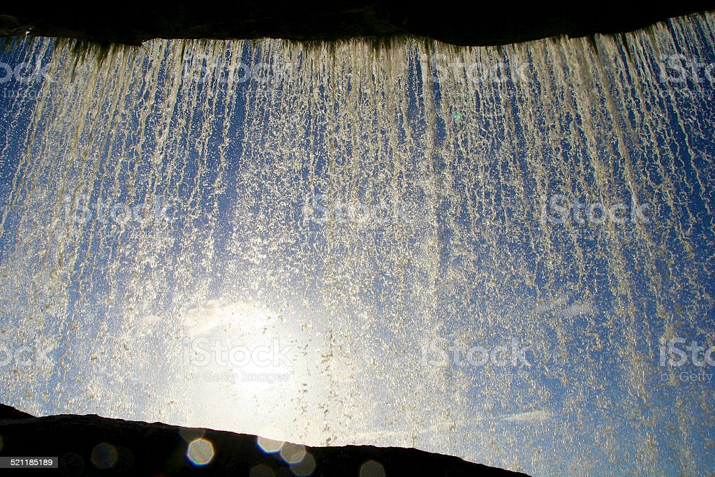 Behind a Waterfall, Canaima National Park, Venezuela stock photo