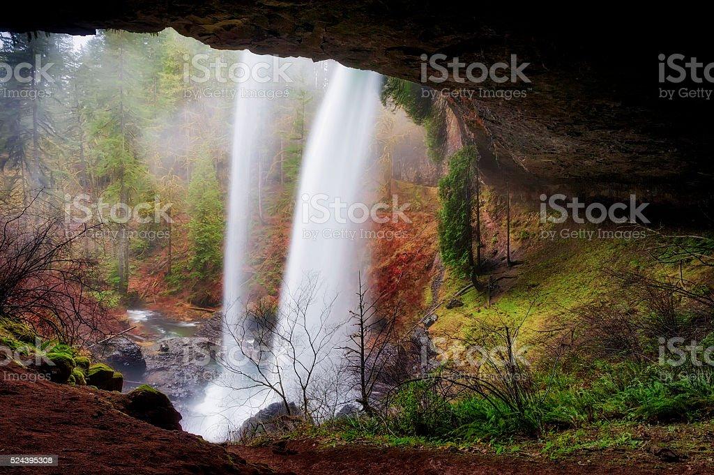 Behind North Falls at Silver Falls State Park stock photo