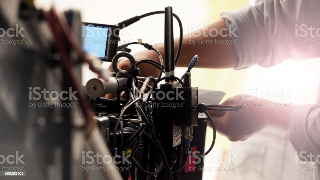 Behind the 4k high defination video camera shooting stock photo