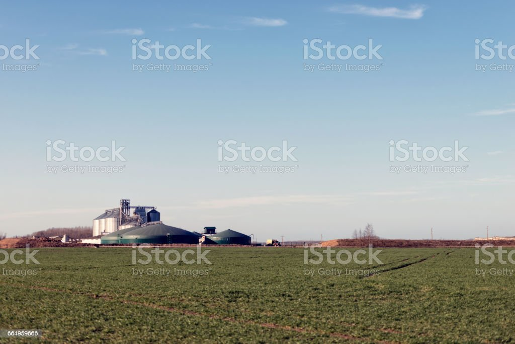 Behind the field visible farm with dry food storage. stock photo