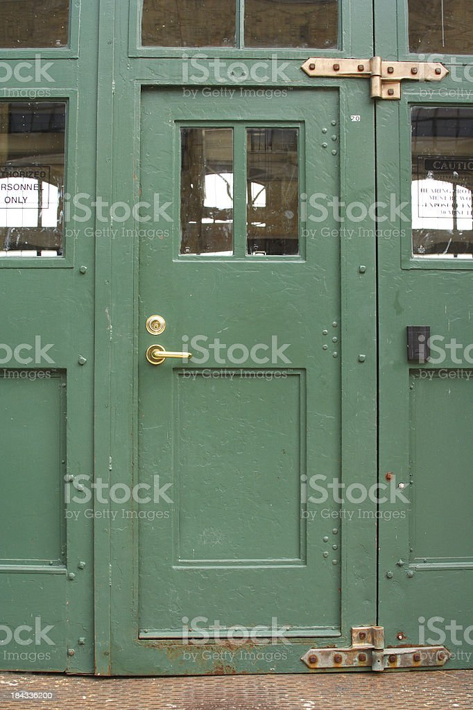Behind The Green Door Vintage Steel Entrance To Factory Stock Photo