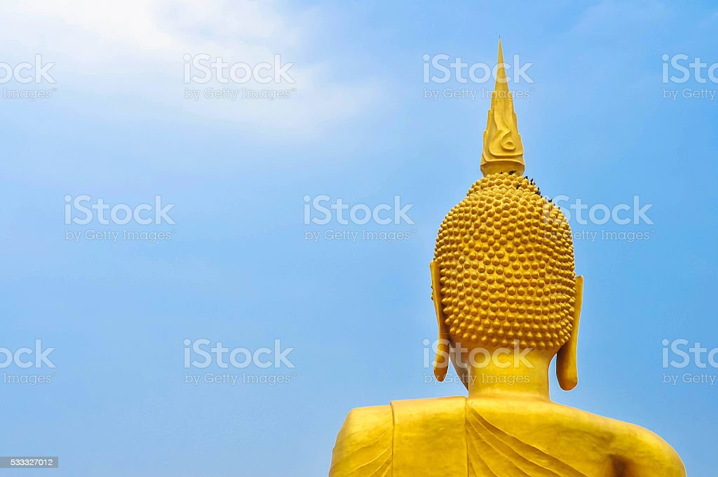 Behind the image of Buddha in Thailand. stock photo