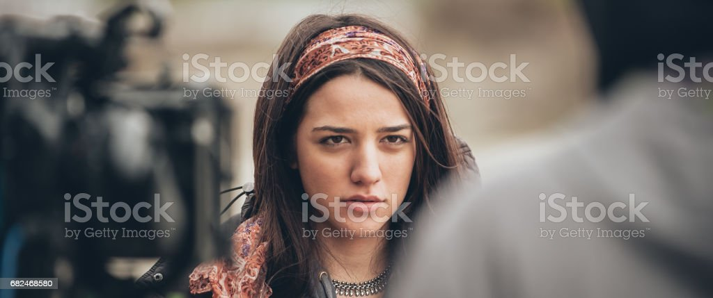 Behind the scene. Actress in front of the camera stock photo