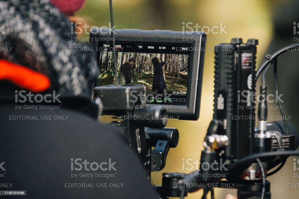 Behind the scene. Film crew team filming movie scene on outdoor...