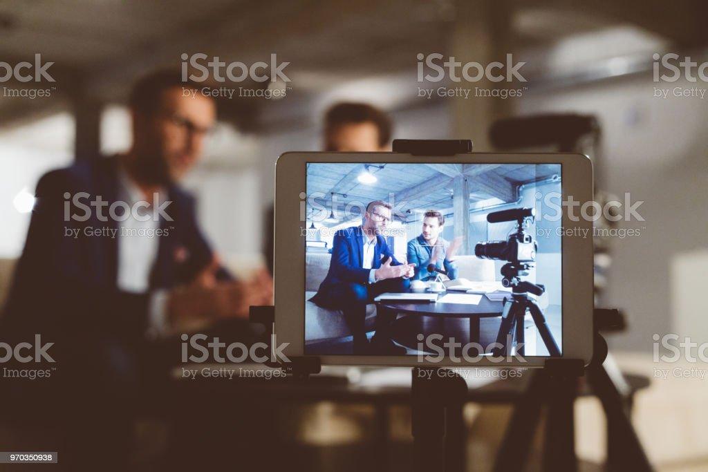 Hinter den Kulissen ein Geschäft vlog Lizenzfreies stock-foto