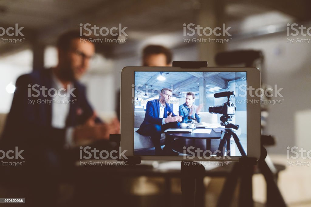 Behind the scenes of a business vlog stock photo