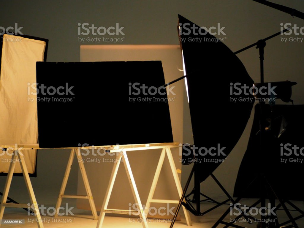 Behind the scenes of shooting video production. stock photo