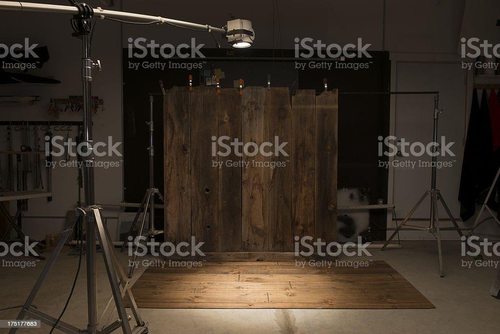 Behind the scenes-studio setup w/barnwood stock photo