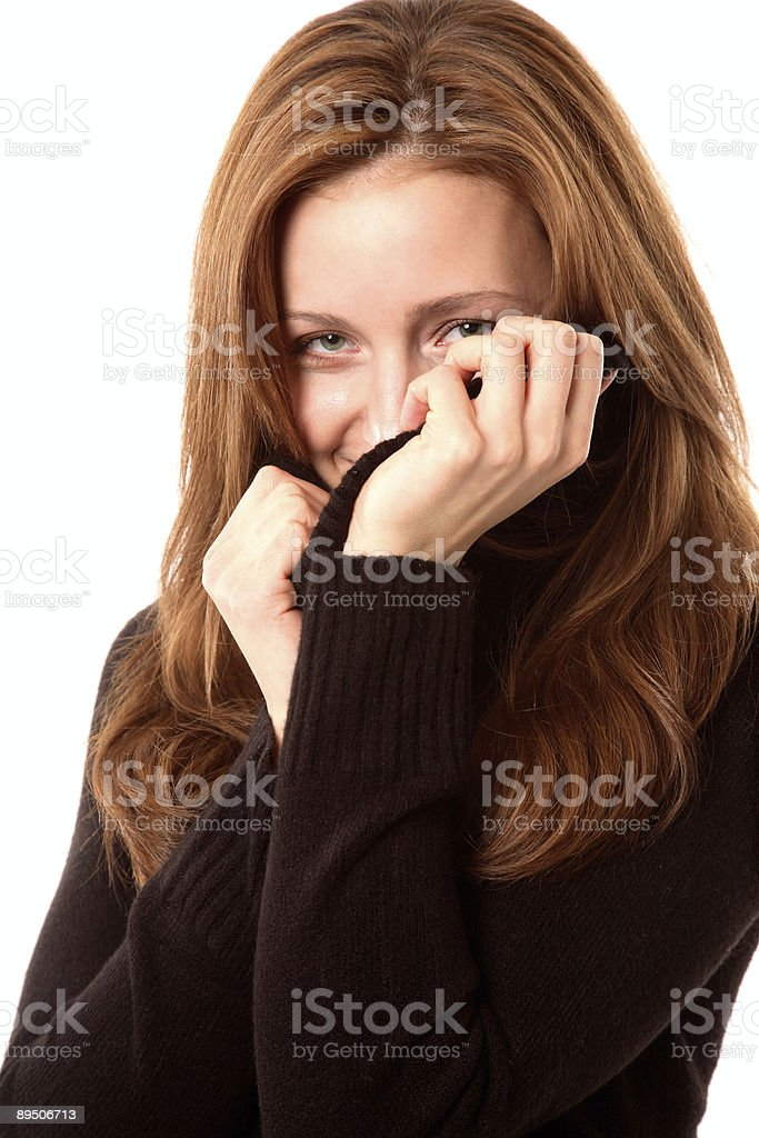 Behind the sweater royalty-free stock photo