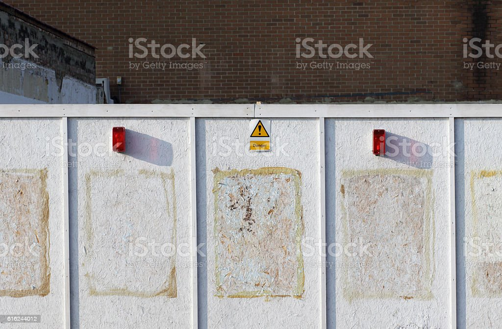 White board notice spaces building site danger sign stock photo