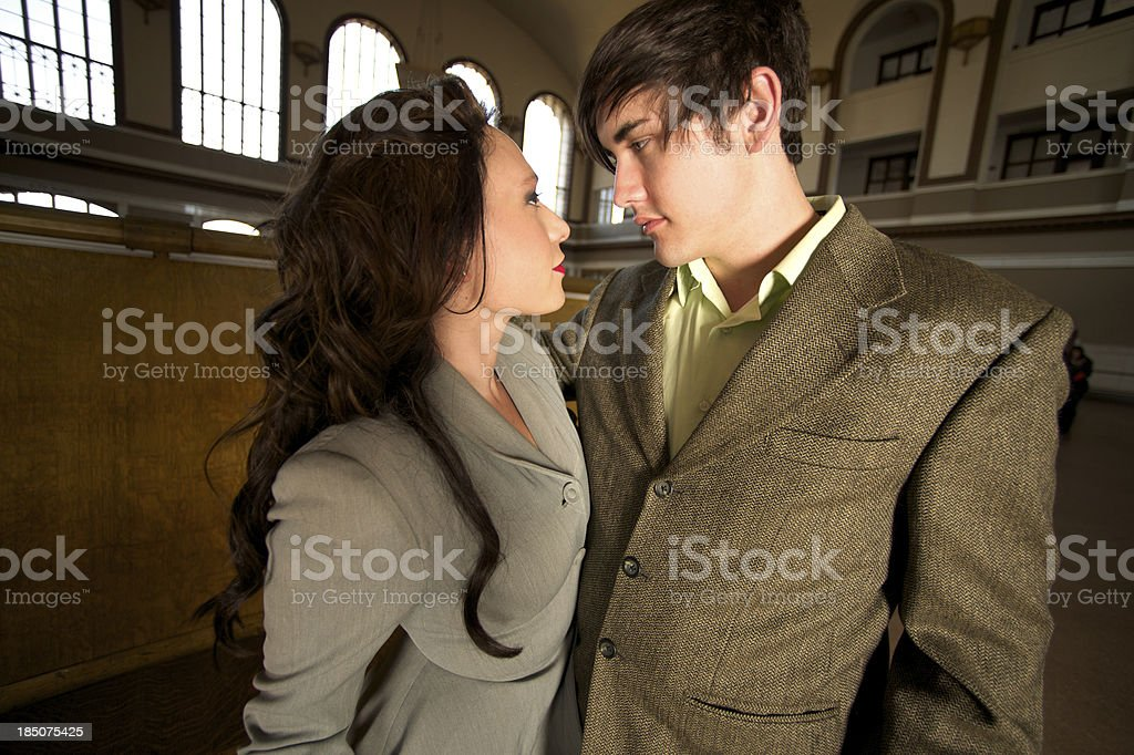 Beholding of Love in a Vintage Scene stock photo