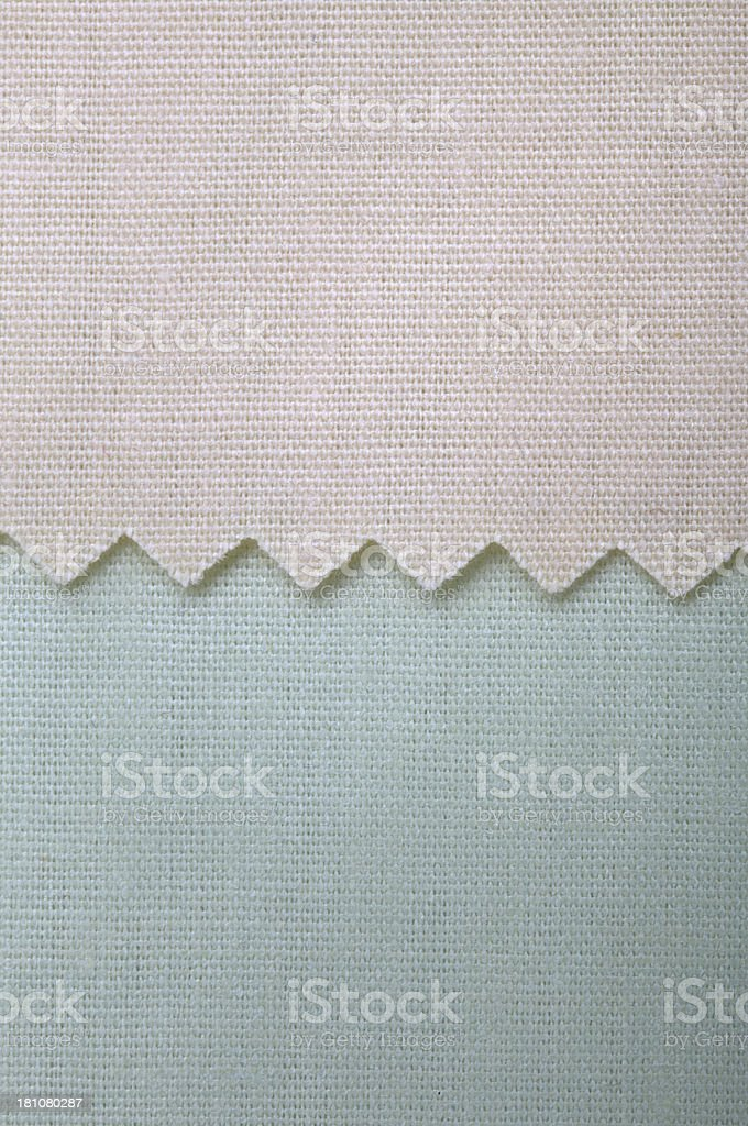 Beige and Blue Fabric Swatch Background royalty-free stock photo
