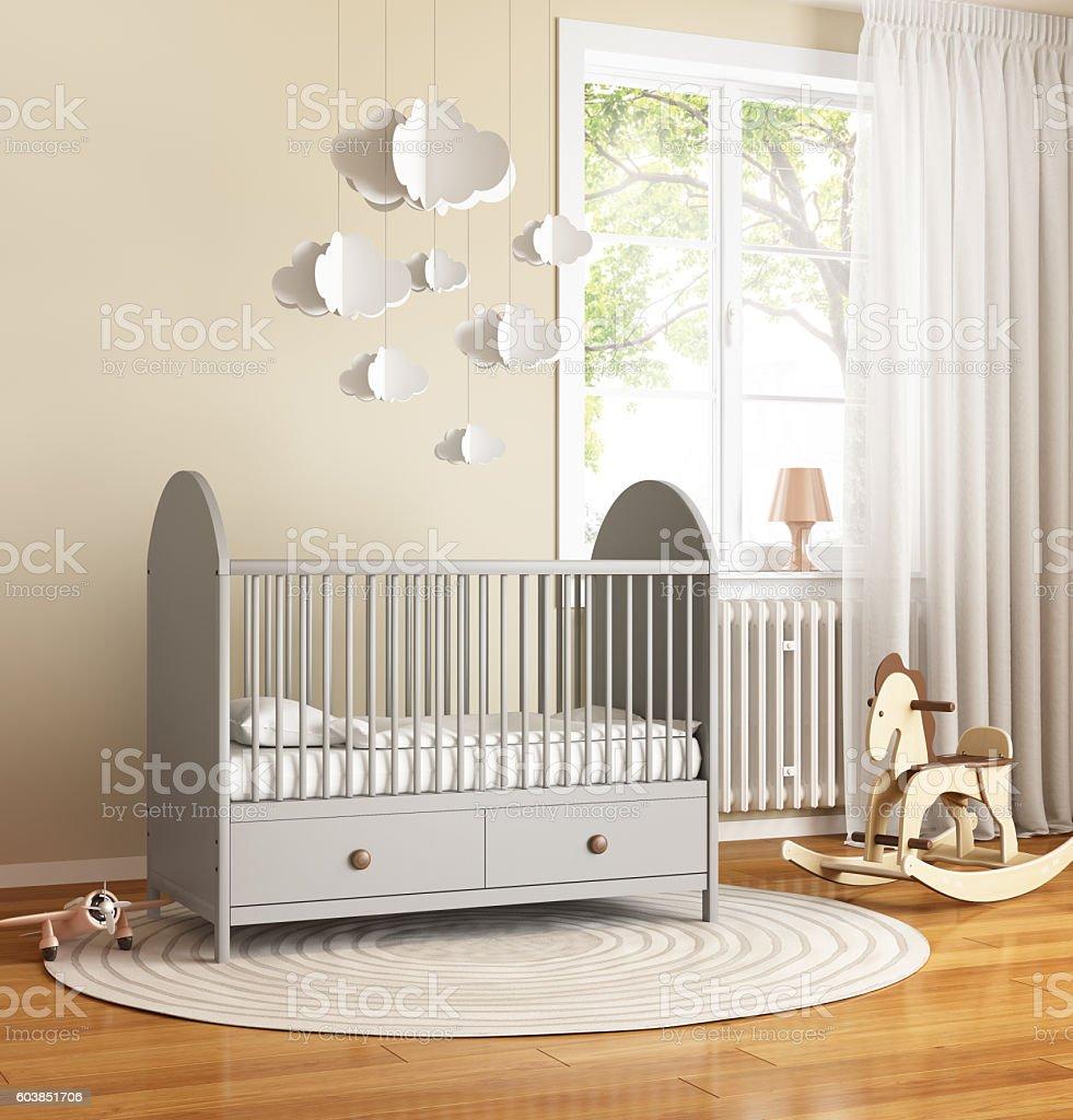 Beige And Grey Nursery Baby Room With Rug Stock Fotografie Und Mehr