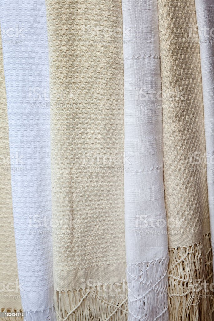 Beige and White Fringed Tablecloths, Mexico royalty-free stock photo