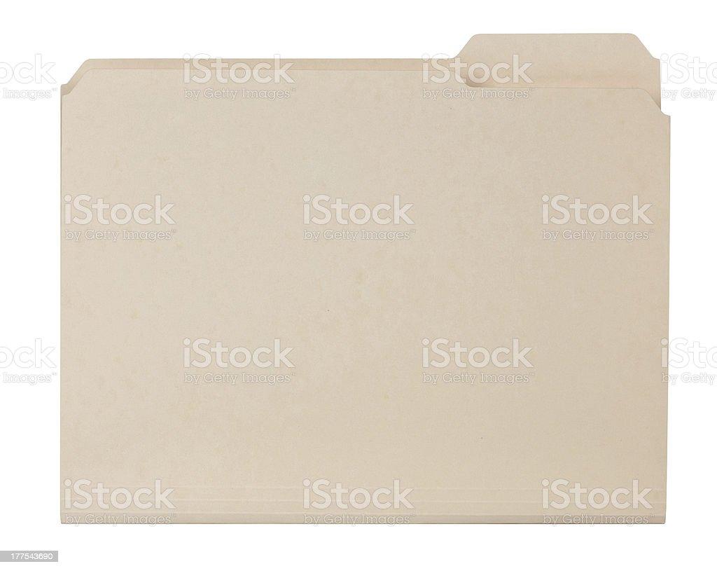 Beige blank Manila file folder stock photo