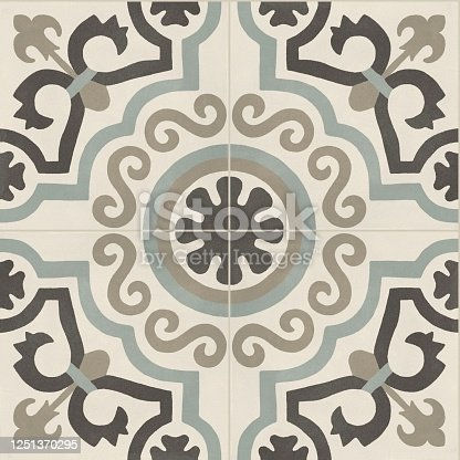 1141967162 istock photo Beige blue porcelain tile with traditional pattern for indoor and outdoor flooring 1251370295