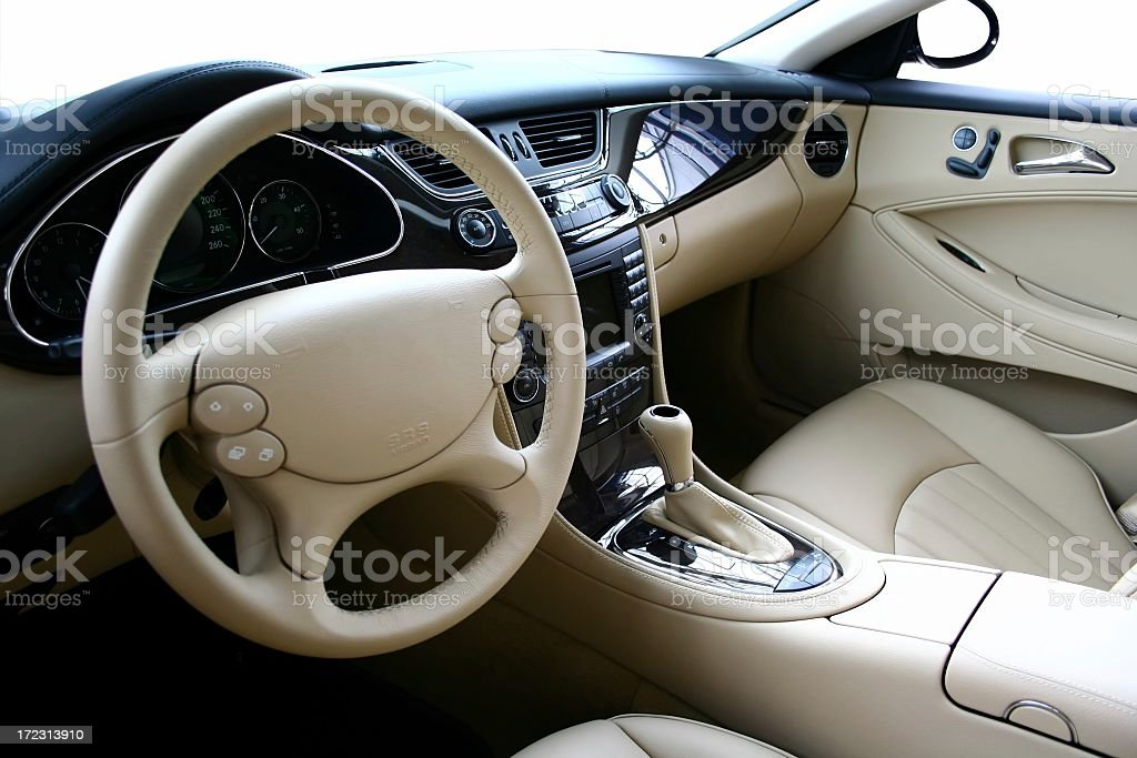 A beige car interior in a new car royalty-free stock photo