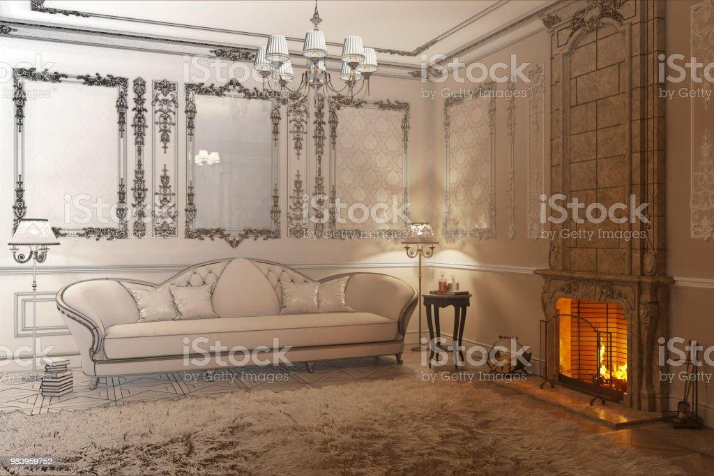 Beige Klassische Wohnzimmer Mit Kamin Wird Eine Zeichnung Stockfoto Und Mehr Bilder Von Alt Istock