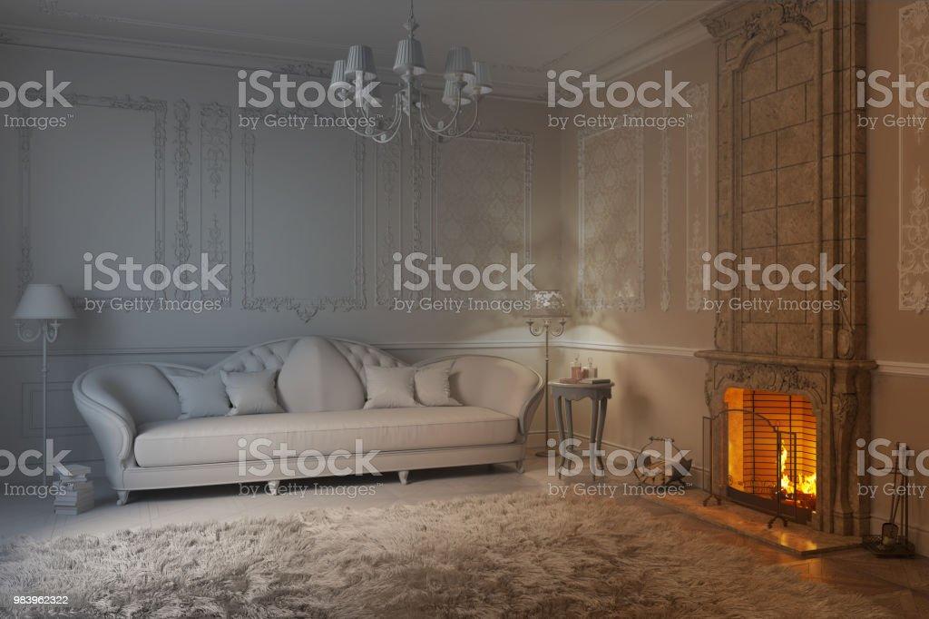 Beige Klassische Wohnzimmer Mit Kamin Wird Eine Weisse Render Stockfoto Und Mehr Bilder Von Alt Istock