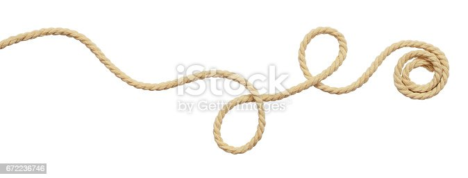 Beige cotton rope curl isolated on white