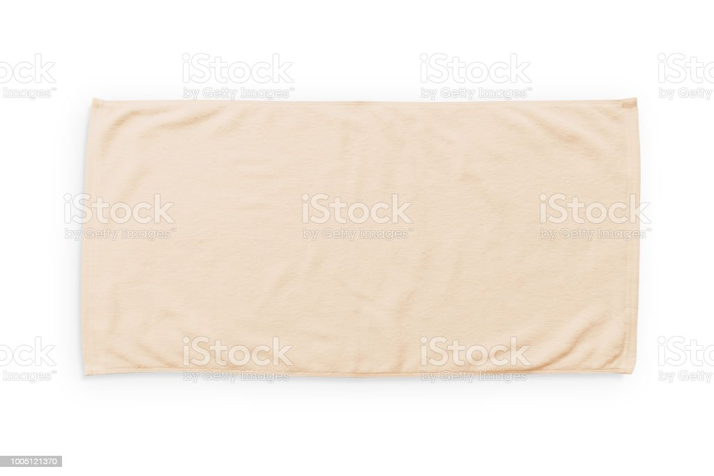 blank white beach towel. Beige Cream Beach Towel Mock Up Isolated On White Background, Flat Lay Top  View Stock Blank