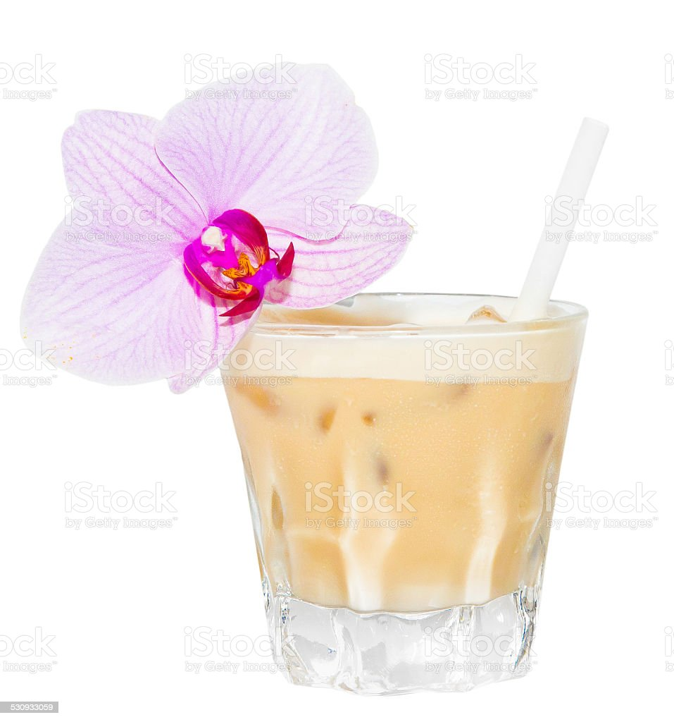 Beige Creamsicle Drink with flawer stock photo