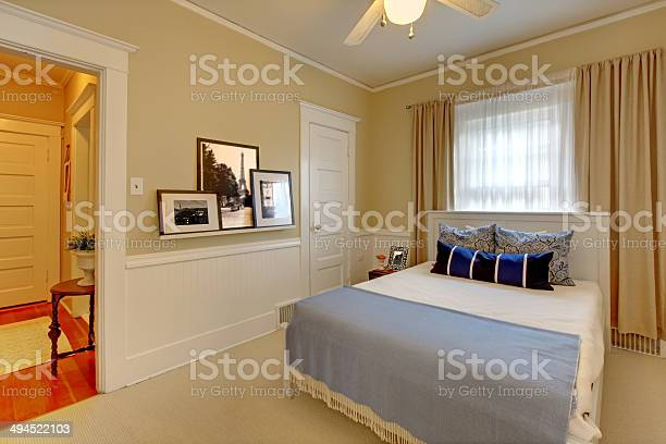 Beige Elegant Bedroom With Curtains Stock Photo Download Image Now Istock